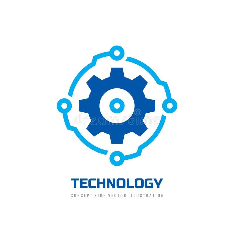 Digital tech - vector business logo template concept illustration. Gear electronic factory sign. Cog wheel technology symbol. SEO. Emblem. Graphic design royalty free illustration
