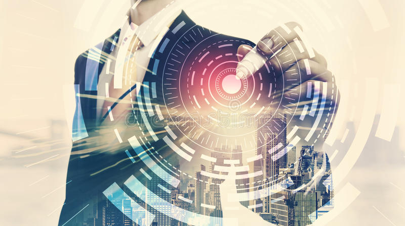 Digital Techcirkel med dubbel exponering av affärsmannen stock illustrationer