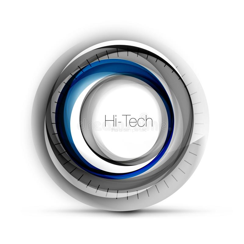 Digital techno sphere web banner, button or icon with text. Glossy swirl color abstract circle design, hi-tech. Digital techno blue color sphere web banner stock illustration