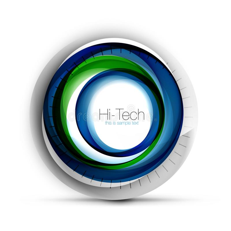 Digital techno sphere web banner, button or icon with text. Glossy swirl color abstract circle design, hi-tech. Digital techno blue color sphere web banner vector illustration