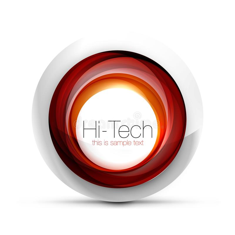 Digital techno sphere web banner, button or icon with text. Glossy swirl color abstract circle design, hi-tech. Futuristic symbol with color rings and grey stock illustration