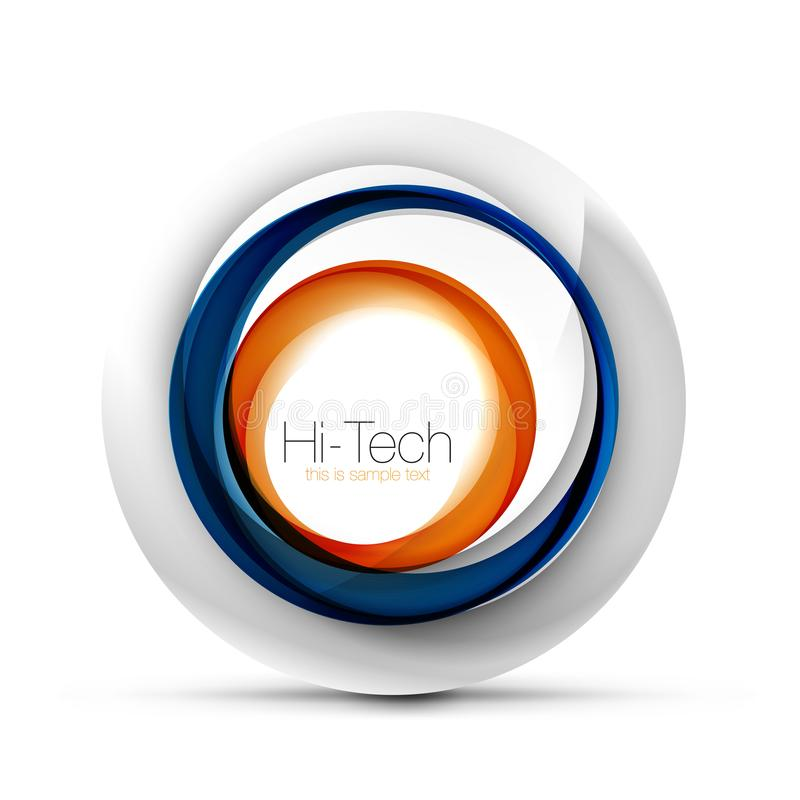 Digital techno sphere web banner, button or icon with text. Glossy swirl color abstract circle design, hi-tech. Futuristic symbol with color rings and grey royalty free illustration