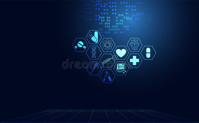 Digital technolo för abstrakt vård- sjukvårdsymbol för medicinsk vetenskap royaltyfri illustrationer