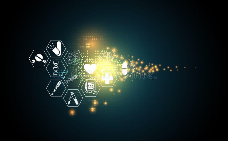 Digital technolo för abstrakt vård- sjukvårdsymbol för medicinsk vetenskap stock illustrationer