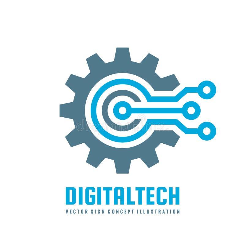 Digital-Technologie - vector Geschäftslogoschablonen-Konzeptillustration Elektronisches Fabrikzeichen des Gangs Zahnrad-Technolog lizenzfreie abbildung