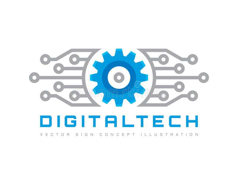Digital-Technologie - vector Geschäftslogoschablonen-Konzeptillustration Elektronisches Fabrikzeichen des Gangs Zahnrad-Technolog vektor abbildung