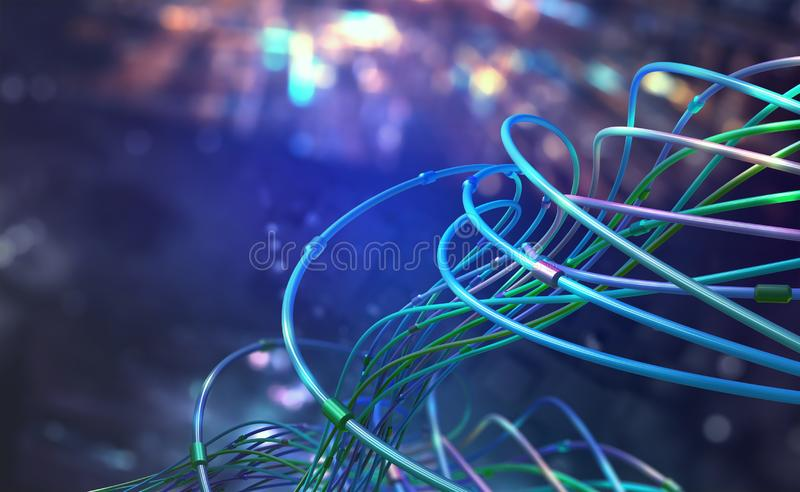 Digital technologies of future. Transmission and storage of data in global cyberspace. Encrypted data stream over fiber optic cable. 3D illustration of vector illustration
