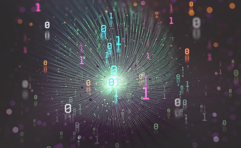 Digital technologies of the future. Unit and zero in binary code. Big data funnel in the global computer universe. 3D illustration with bokeh elements vector illustration