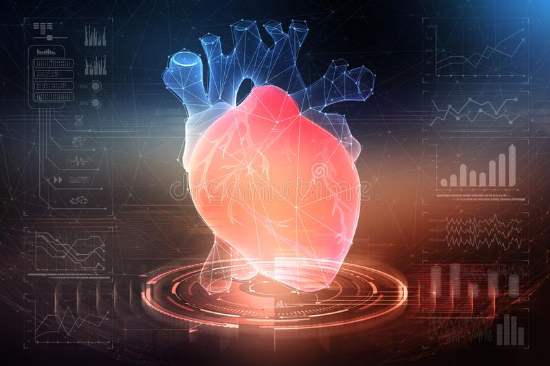 Digital technologies in medicine and scientific research of the body. Study of the human heart. 3D modeling in the field of transplantology of internal organs royalty free illustration