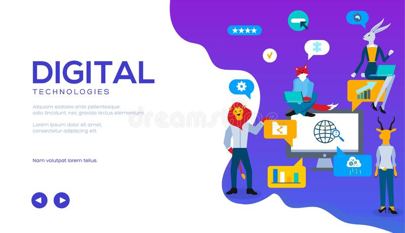 Digital technologies vector landing page template vector illustration