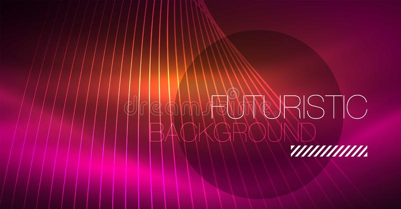 Digital technology abstract background - neon geometric design. Abstract glowing lines. Colorful techno background stock illustration