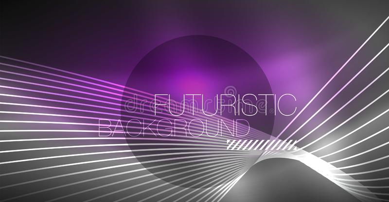 Digital technology abstract background - neon geometric design. Abstract glowing lines. Colorful techno background royalty free illustration