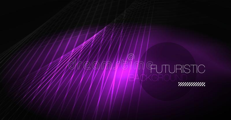 Digital technology abstract background - neon geometric design. Abstract glowing lines. Colorful techno background vector illustration