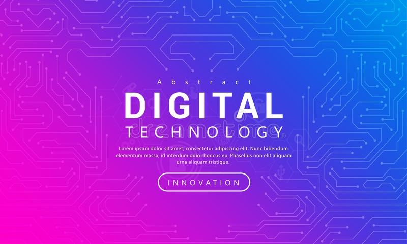 Digital technology banner pink blue background concept with technology line light effects, abstract tech vector illustration