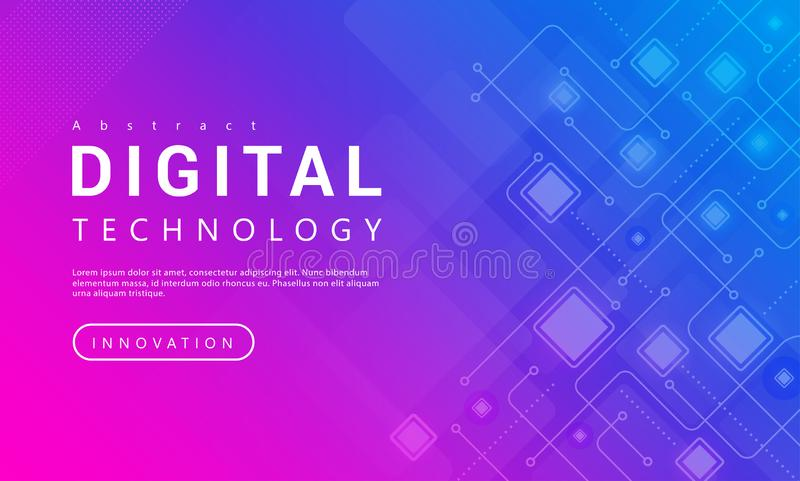 Digital technology banner pink blue background concept with technology line light effects, abstract tech royalty free illustration