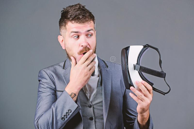 Digital technology for business. Business implement modern technology. Business man virtual reality. Modern gadget. Innovation and technological advances stock photography