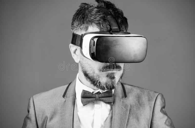 Digital technology for business. Business man virtual reality. Modern gadget. Innovation and technological advances. Business implement modern technology stock image