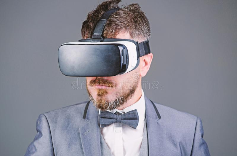 Digital technology for business. Business man virtual reality. Modern gadget. Innovation and technological advances. Business implement modern technology stock photo