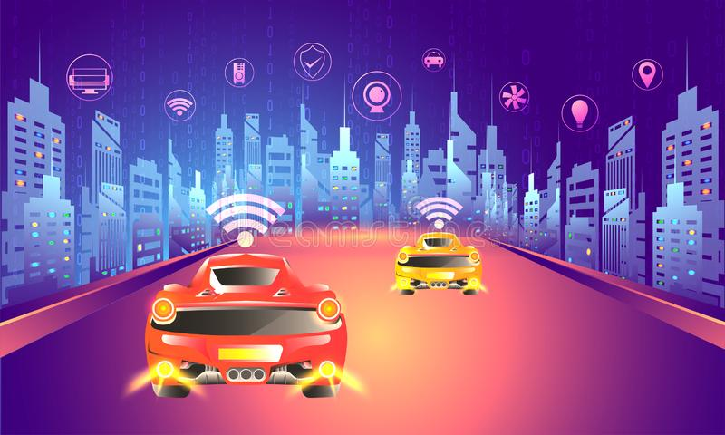 Digital technology concept, urban lanscape with autonomous vehicle on road with multiple smart services app. Futuristic design. vector illustration