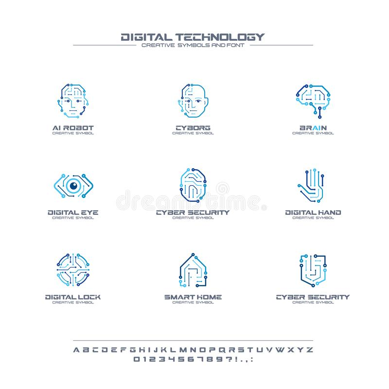 Digital technology creative symbols set, font concept. AI circuit brain abstract business logo. Cyborg face, head, smart royalty free illustration