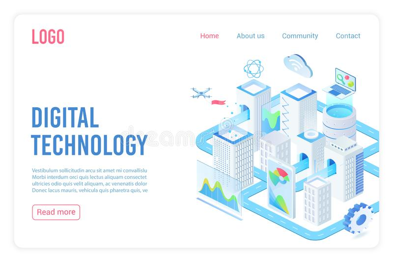 Digital technology landing page isometric vector template. Internet of things, cloud computing service 3d web banner vector illustration