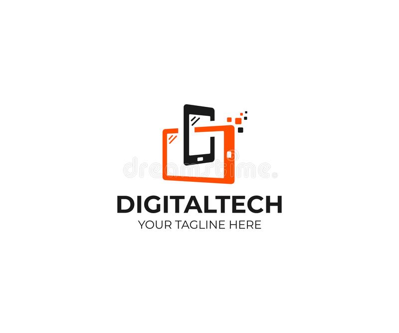 Digital technology logo template. Mobile phone and tablet vector design. Smart gadgets illustration stock illustration