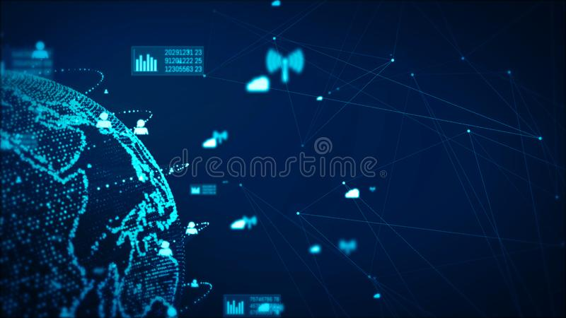 Digital Technology Network Data and Communication Concept Abstract Background. Earth element furnished by Nasa royalty free illustration