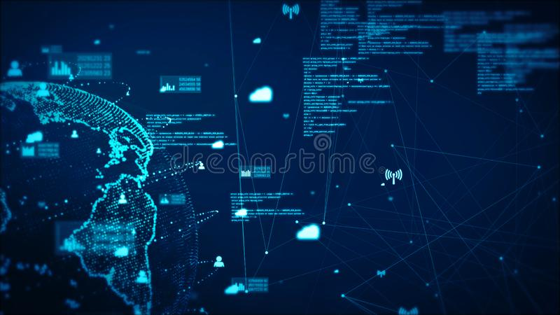 Digital Technology Network Data and Communication Concept Abstract Background. Earth stock illustration