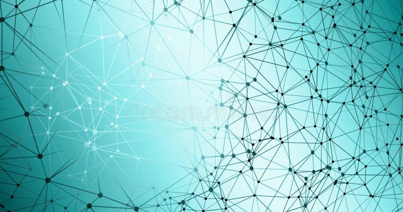Digital technology, neural network algorithm graphic dot backgrounds, digital data science graphics. Digital technology, neural network abstract triangles shapes stock illustration