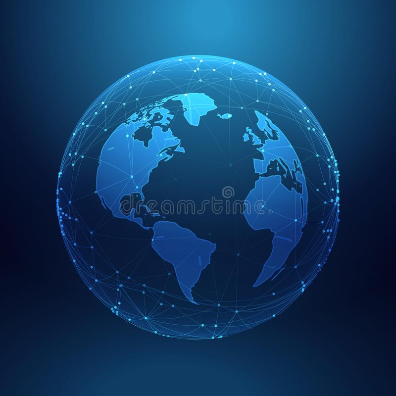 Digital technology planet earth inside network lines array. Vector royalty free illustration