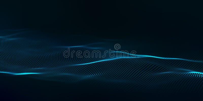 Digital technology wave. Futuristic blue vector illustration. Big data. Low poly shape dots stock illustration