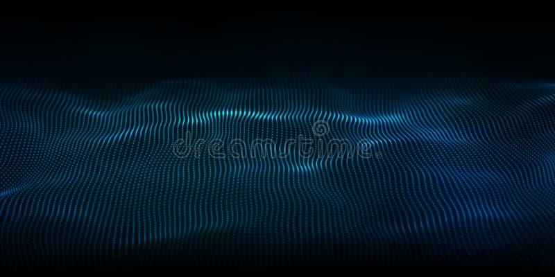Digital technology wave. Futuristic blue vector illustration. Big data. Low poly shape dots royalty free illustration