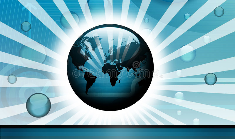 Digital technologycal backdrop. High-tech technology background with globes and world-map stock illustration