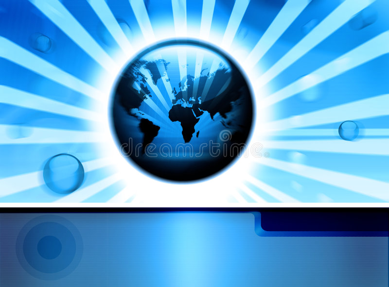 Digital technologycal backdrop. High-tech dynamic technology background with globes, world-map and border. Global communication concept royalty free illustration