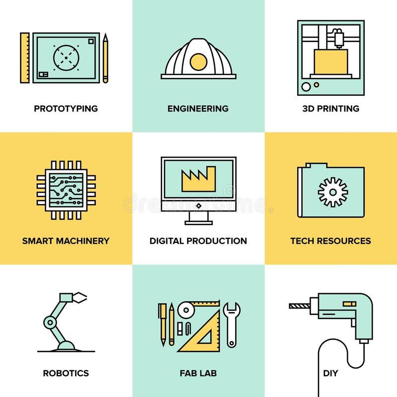 Digital teknik och plan symbolsuppsättning för produktion royaltyfri illustrationer