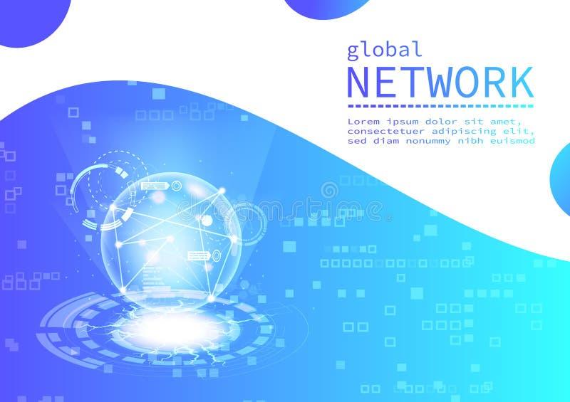 Digital teknologi för globalt nätverk, affärsvektor, mall för pixelatebakgrundspresentation, rengöringsduk-, reklamblad-, baner-  vektor illustrationer