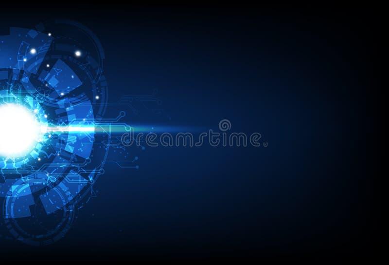 Digital teknologi, futuristisk strömkrets, illustration för vektor för bakgrund för blå cirkelblixtelektricitet abstrakt stock illustrationer