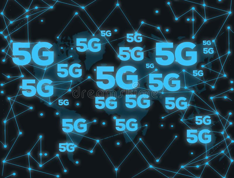 digital teknologi 5G royaltyfri illustrationer