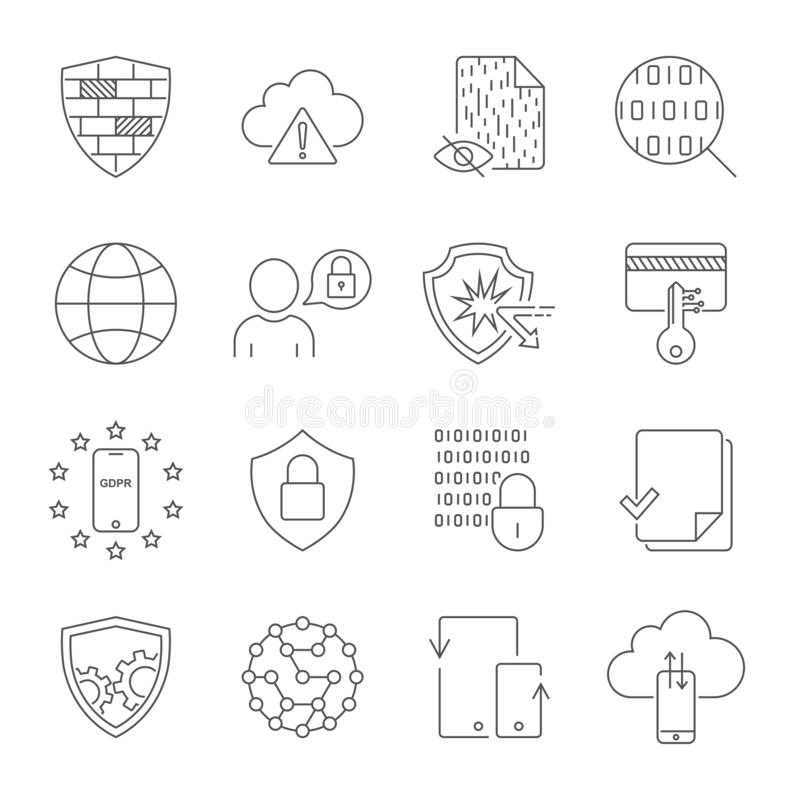 Digital teknologi, säkerhet, skydd, innovation i yberspace Redigerbar slagl?ngd 10 eps vektor illustrationer