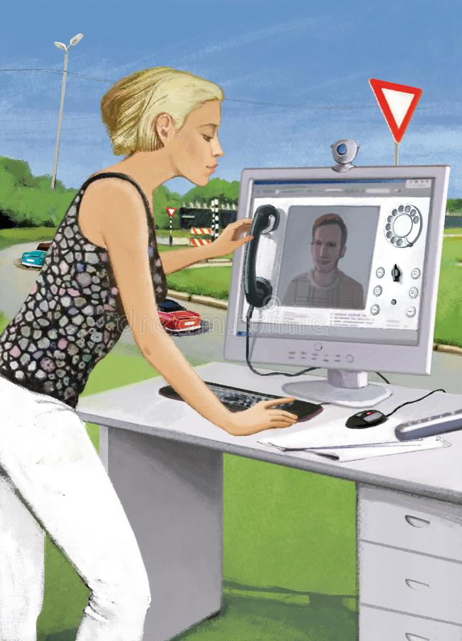 Digital telephony. The girl climbs a young man on a video connection from a stationary computer. Workplace office space against a vector illustration