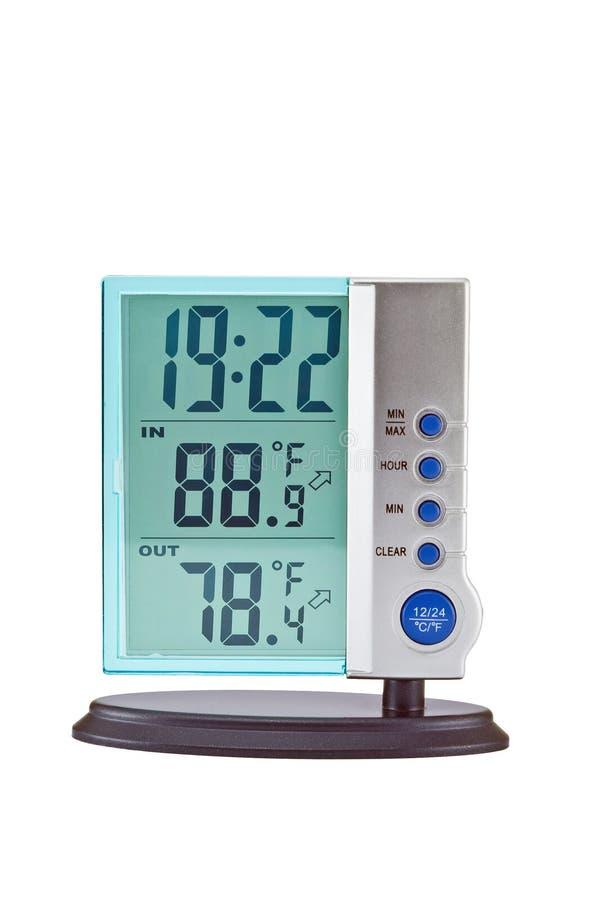 digital termometer för klocka royaltyfri fotografi