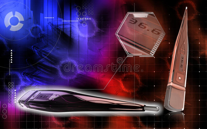 Download Digital thermometer stock illustration. Image of effects - 14850174