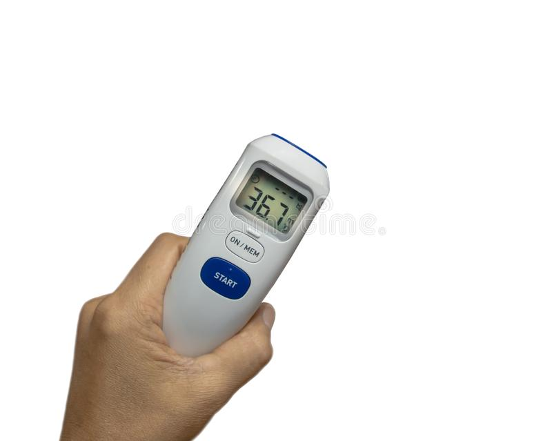 Digital thermometer ,medical device use to measure patient temperature at the hospital isolated on white background. stock image