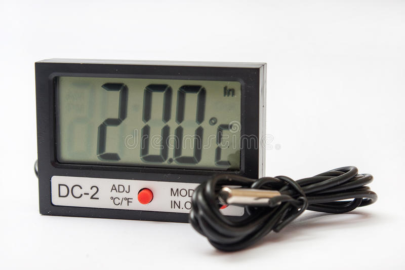 Digital thermometer with sensor on the cable stock image