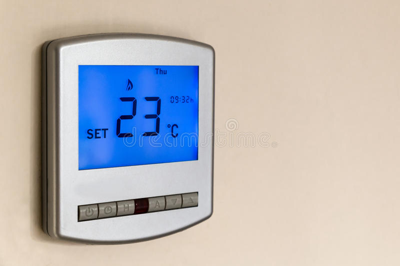Digital Thermostat. Set at 23 degrees stock photography