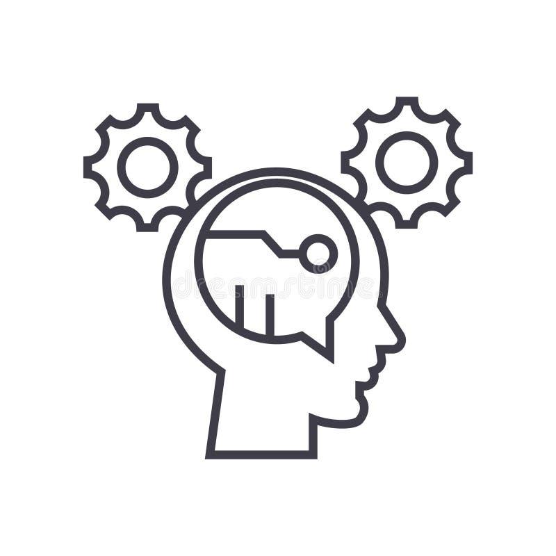 Digital thinking concept vector thin line icon, symbol, sign, illustration on isolated background stock illustration