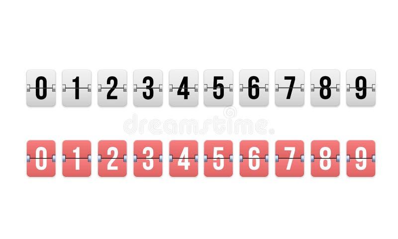 Digital tidmätare, nedräkningräknare Mekaniskt funktionskort, flipklocka vektor illustrationer