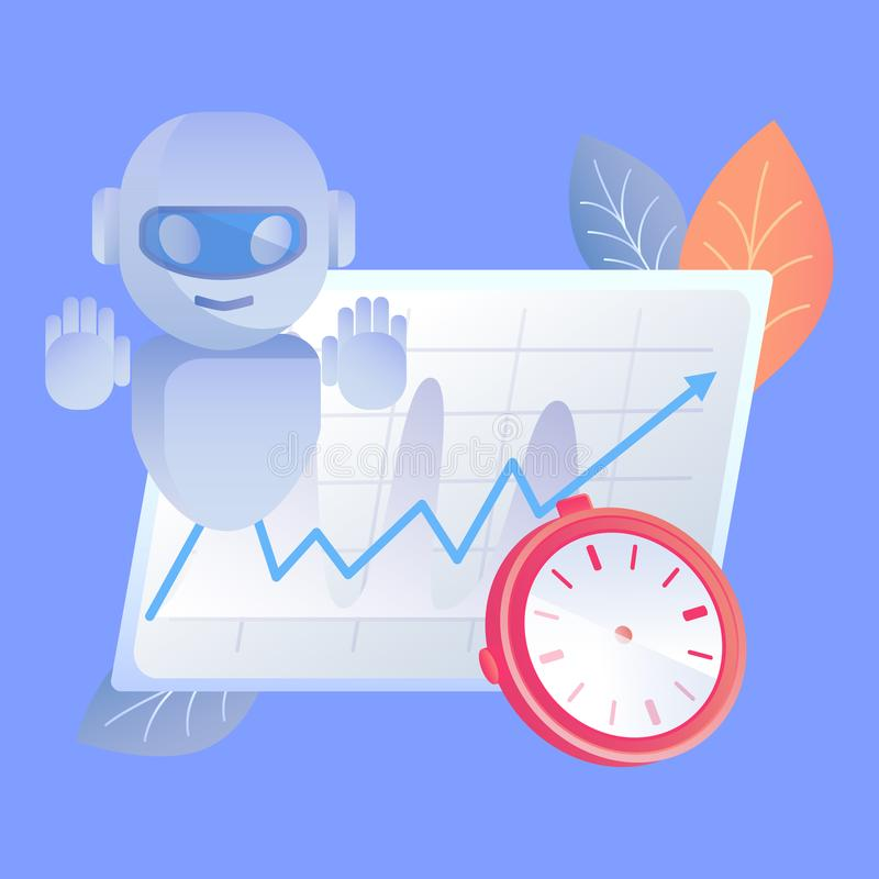 Digital Time Manager Flat Vector Illustration vector illustration