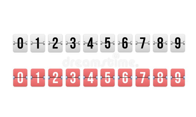 Digital-Timer, Count-downzähler Mechanische Anzeigetafel, Uhr des leichten Schlages vektor abbildung