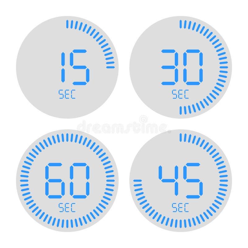 Digital-Timer-Ikone mit blauem Ziffernblatt lizenzfreie abbildung